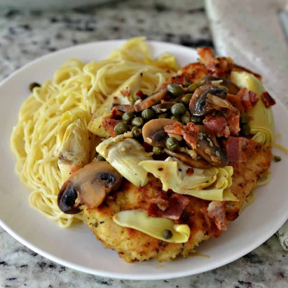 Chicken Scallopini With Bacon And Artichoke Hearts