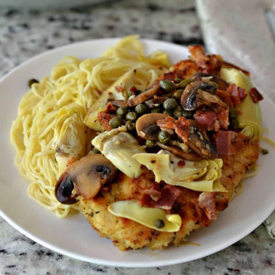 Chicken Scallopini With Bacon And Artichoke Hearts