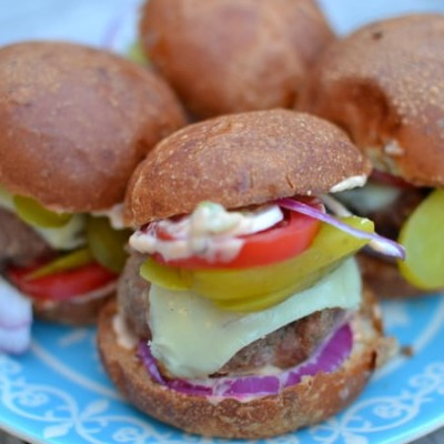 Turkey burger sliders with chipotle mayo.