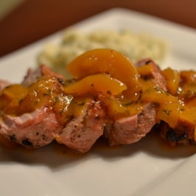 Grilled Pork Tenderloin with Spicy Peach Sauce