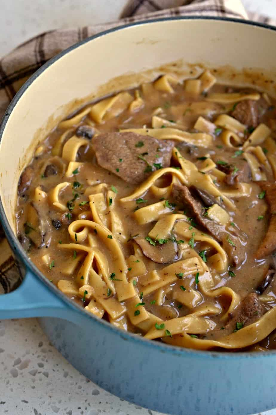 Beef Stroganoff combines tender bites of steak with onions, garlic, mushrooms and egg noodles in a rich creamy beef sauce.