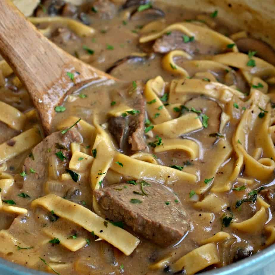 This Beef Stroganoff Recipe is easy enough for a weeknight yet elegant enough for company.