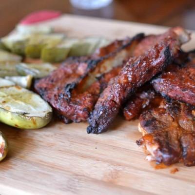 Grilled Pickles & Pork Steaks