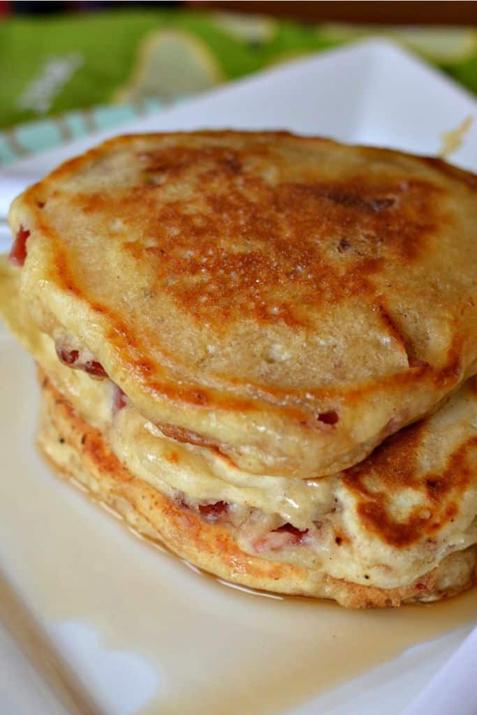 Light and fluffy buttermilk bacon pancakes are a sweet and savory breakfast