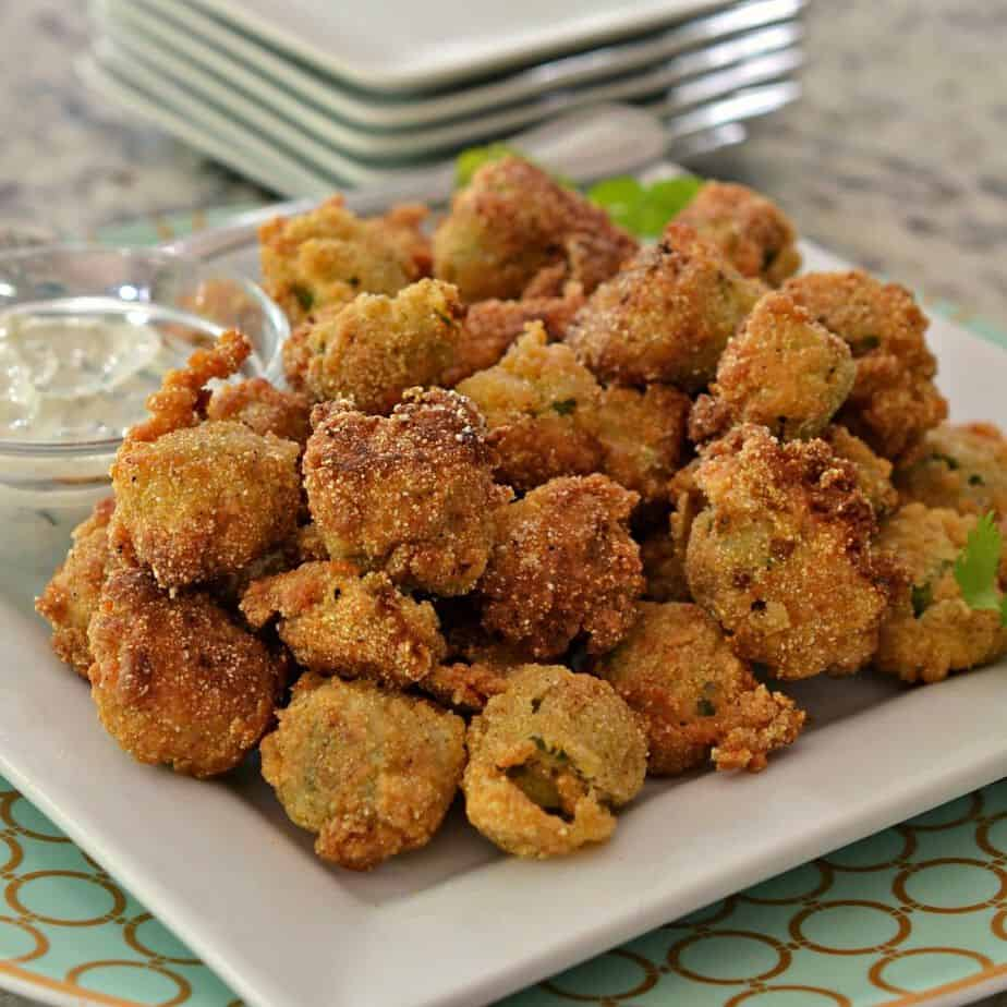 Fried Okra is crispy and perfect for an appetizer, paired with a creamy dipping sauce