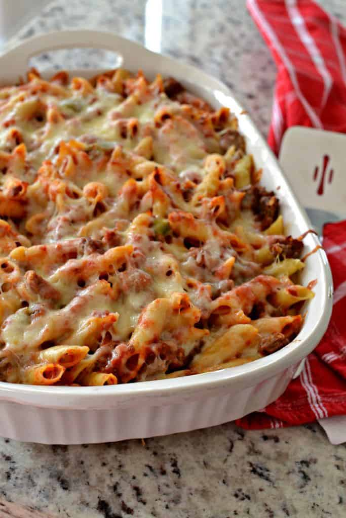Baked Mostaccioli can be prepped in advance, loaded in the refrigerator and baked at the optimum time.