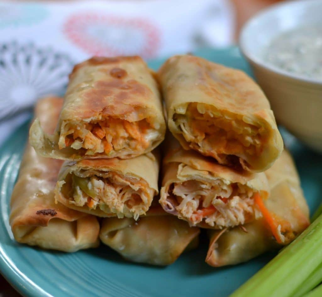 Crispy fried egg rolls filled with creamy buffalo chicken