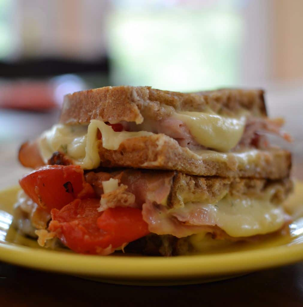 Ham Roasted Red Pepper Grilled Cheese | Small Town Woman