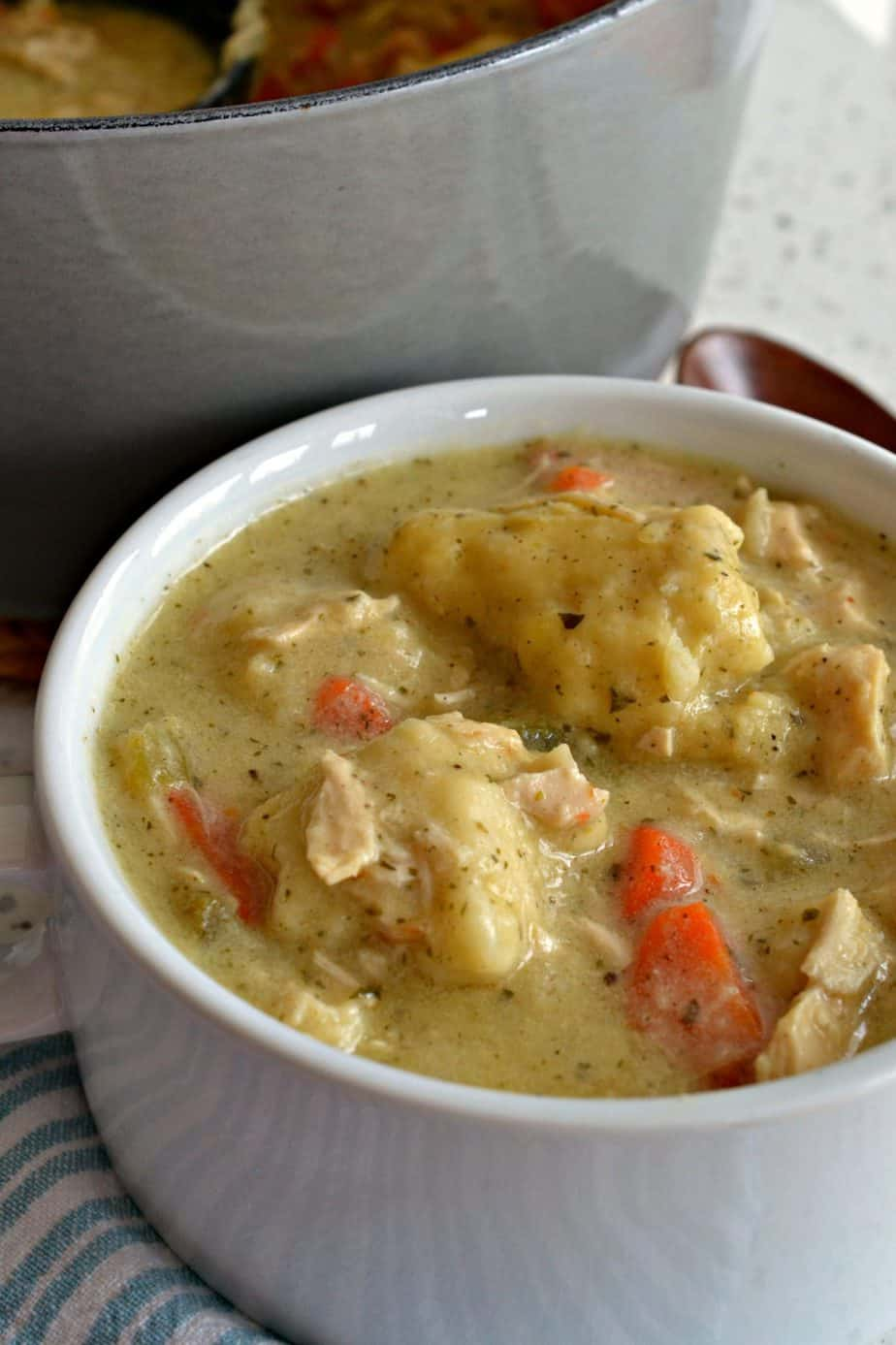 The ultimate comfort soup combining hearty vegetables, tender chicken and homemade dumplings just like grandma used to make.