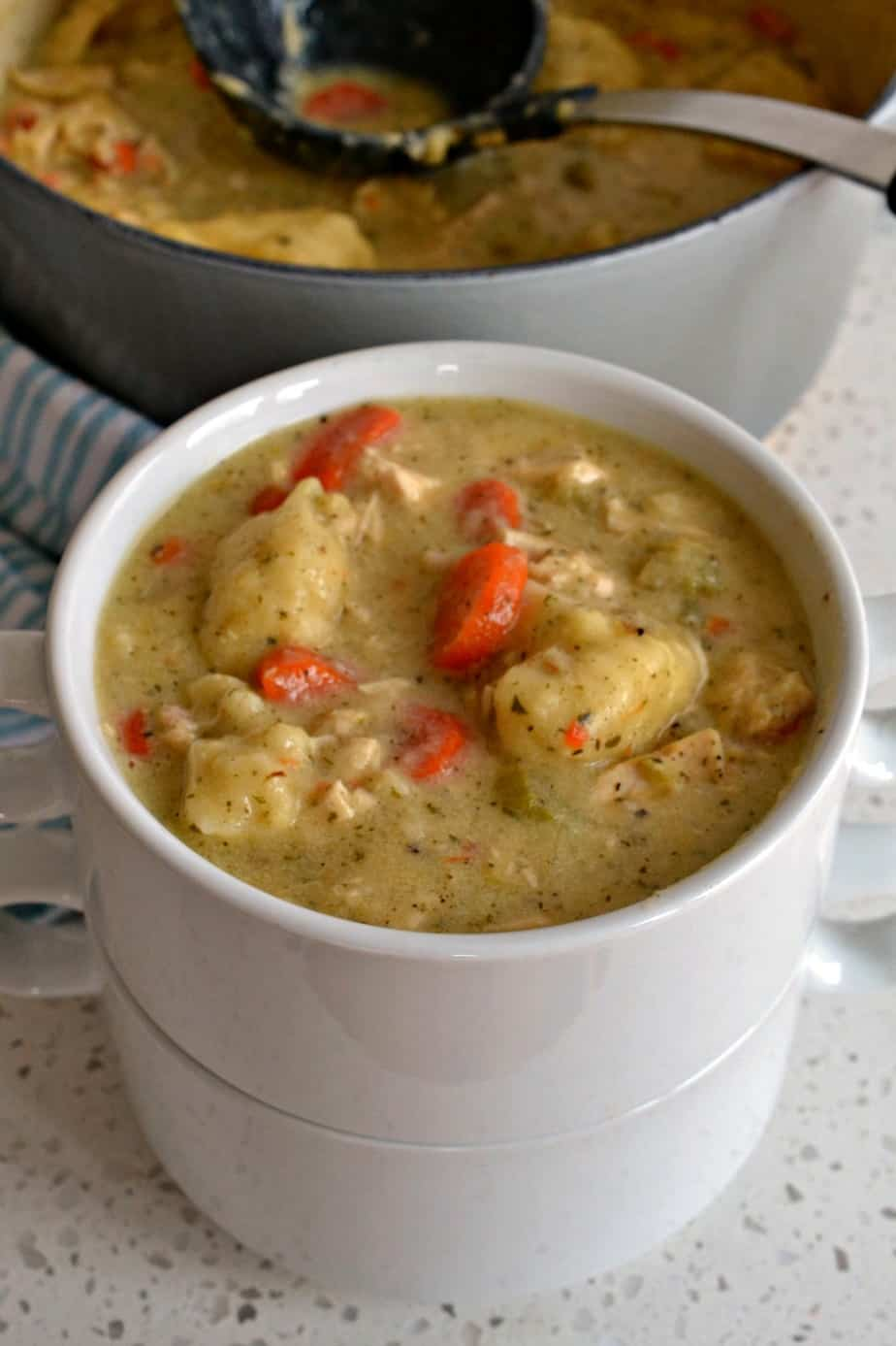 Chicken dumpling soup is the ultimate comfort soup combining hearty vegetables, tender chicken and homemade dumplings.