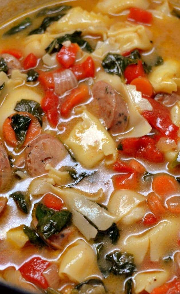 Cheese Tortellini Chicken Sausage Soup | Small Town Woman