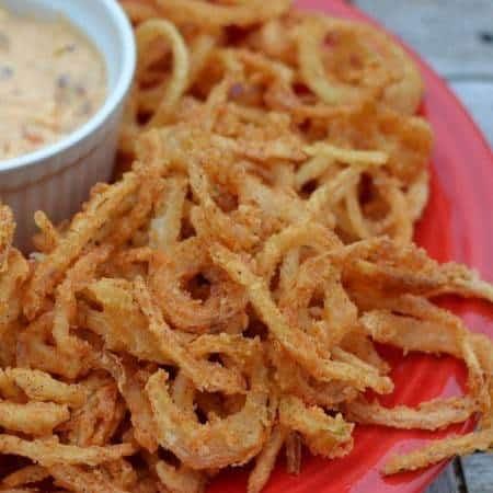 Onion Straws with Chipotle Pepper Aioli