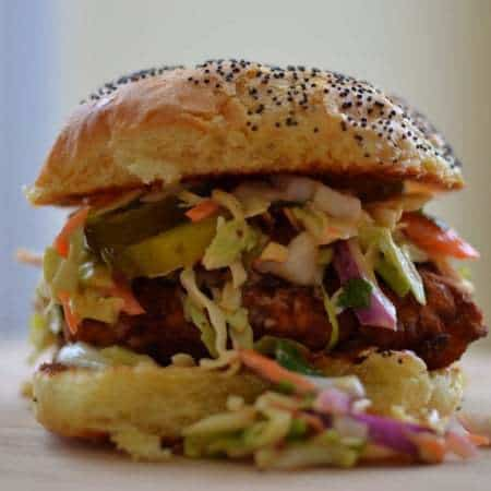 Buttermilk Fried Chicken Sandwich with Spicy Chipotle Cilantro Slaw