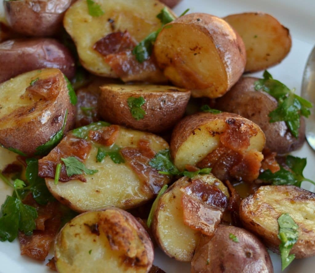 Warm Bacon Honey Mustard Potato Salad | Small Town Woman