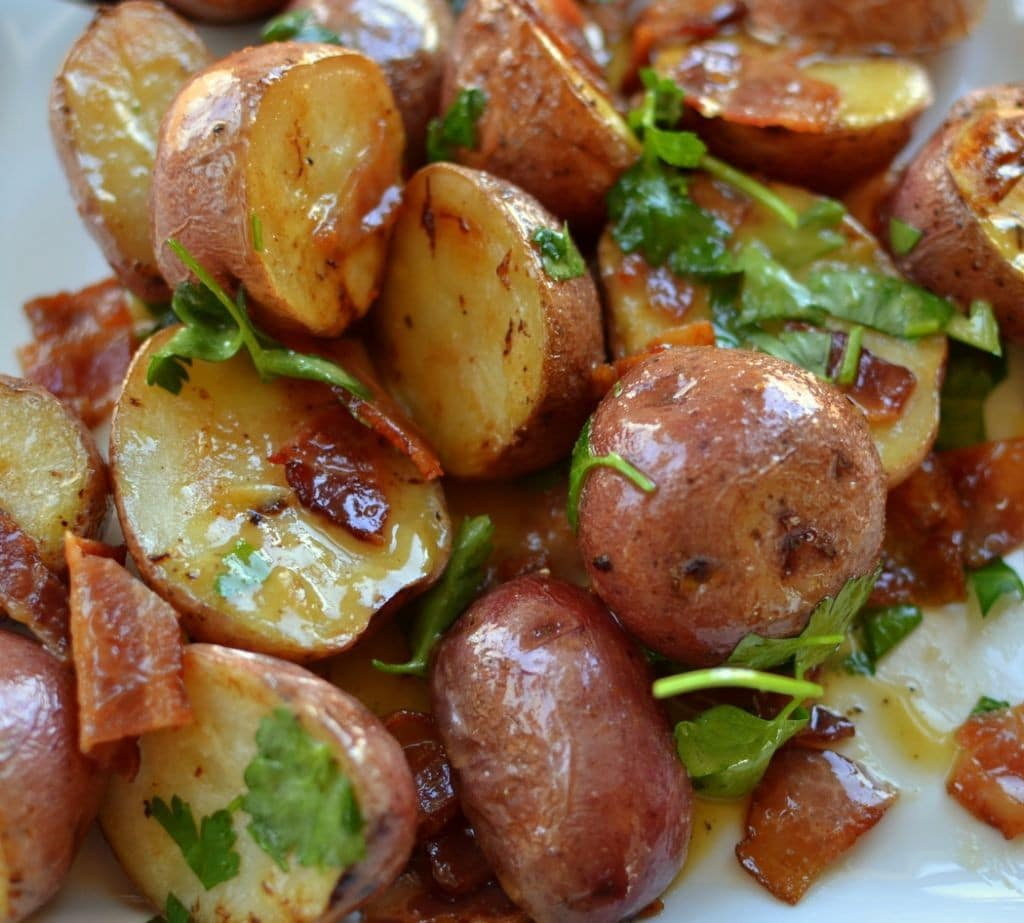 Warm Bacon Honey Mustard Potato Salad | Small Town Woman