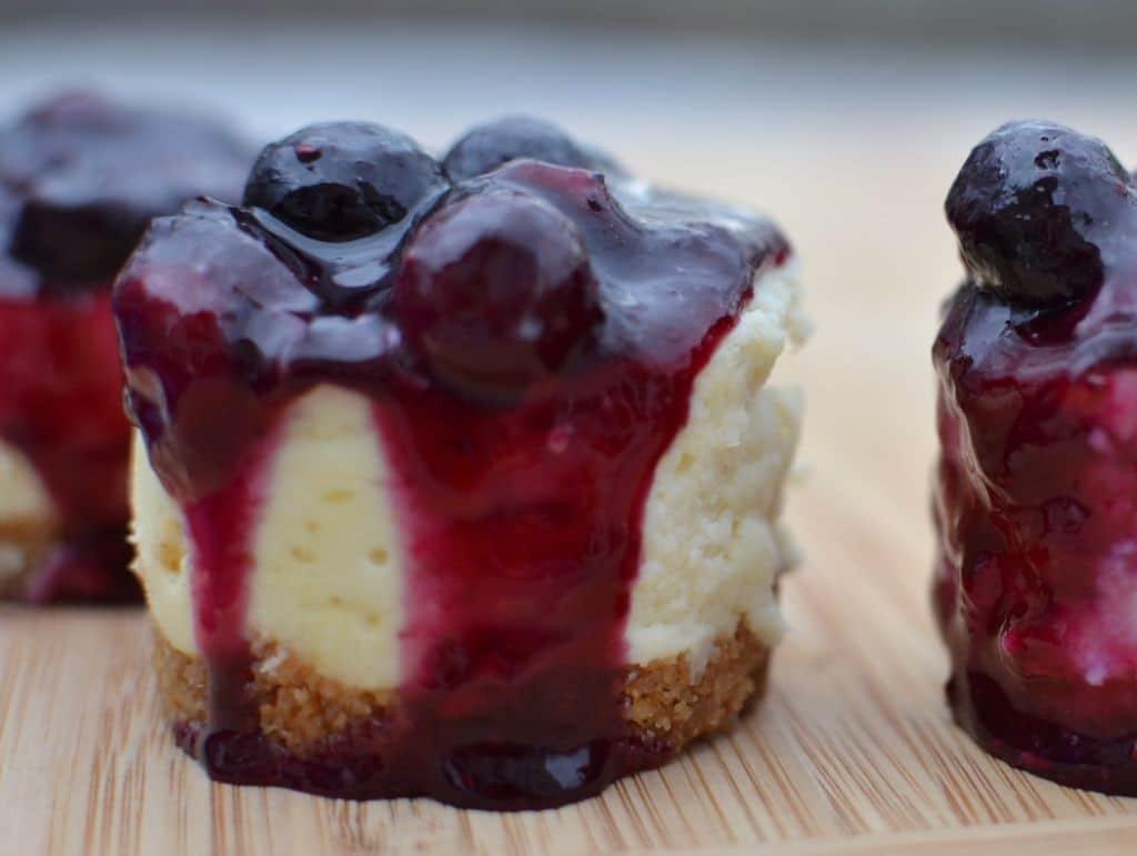 Blueberry Mini White Chocolate Cheesecakes
