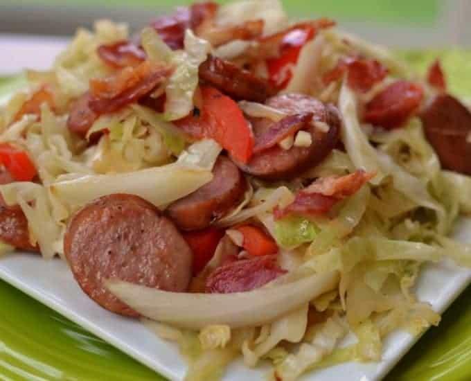 Cabbage Bacon Sausage Stir Fry