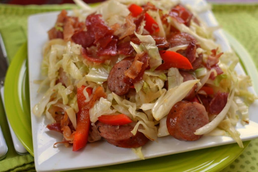 Cabbage Bacon Sausage Stir Fry (7)
