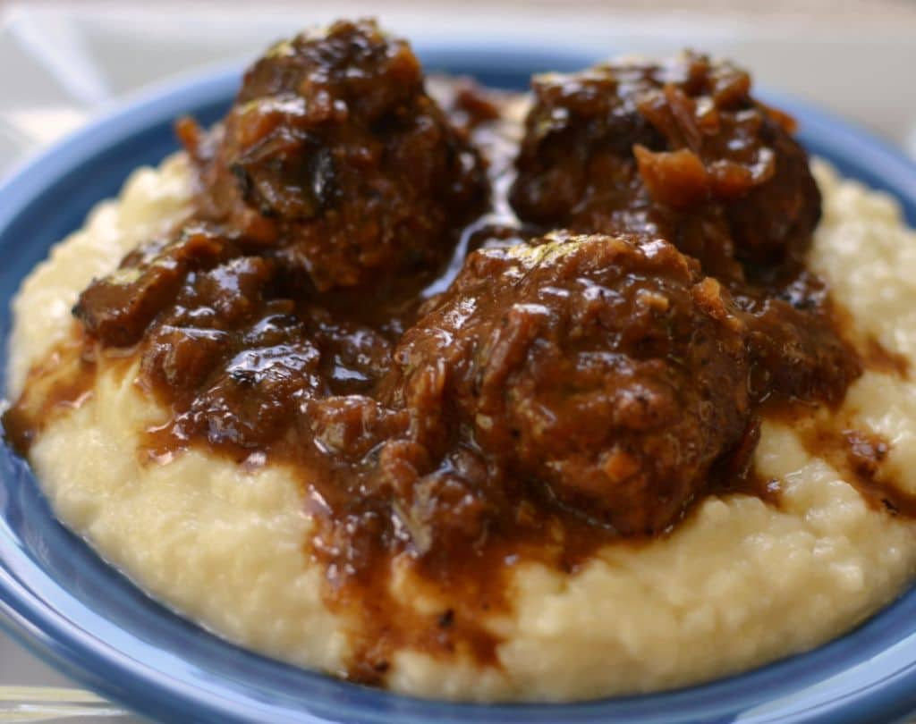 French Onion Meatballs with Smashed Cauliflower (2)