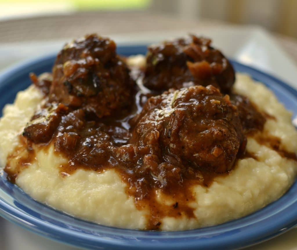 French Onions Meatballs with Smashed Cauliflower