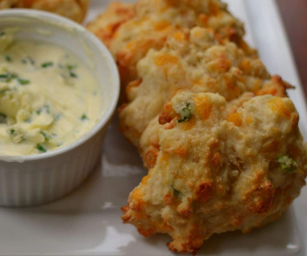 These Cheddar Drop Biscuits with Chive Butter are so easy you can whip ...