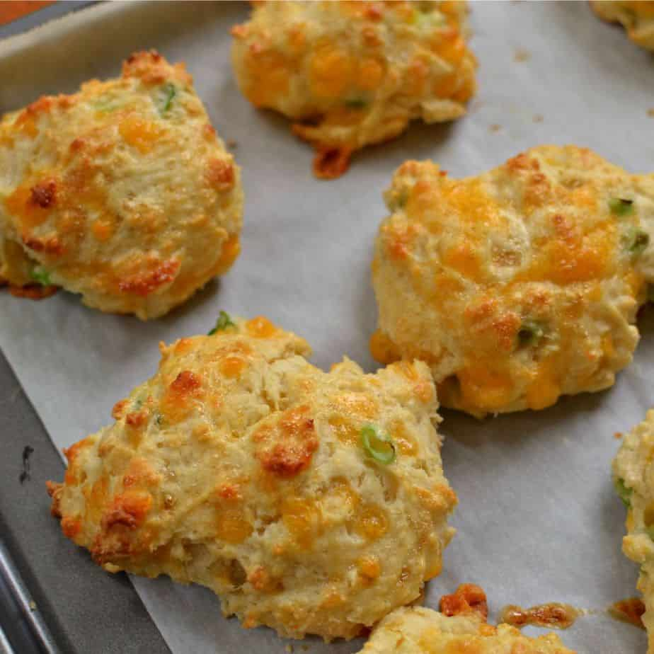 These Cheddar Drop Biscuits are so easy you can whip them up real quick for your crew.