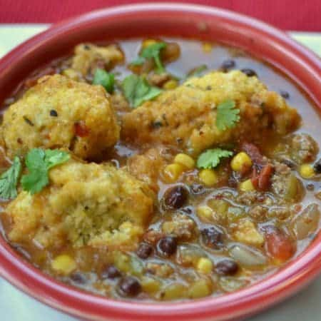 Southwest Chowder with Cornbread Dumplings
