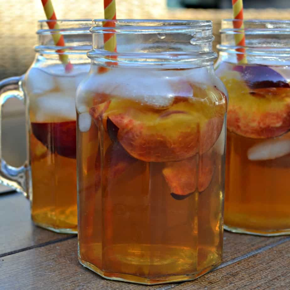 This fresh Peach Tea is perfect for your patio party, summer swimming refreshments or your after yard work pick me up!