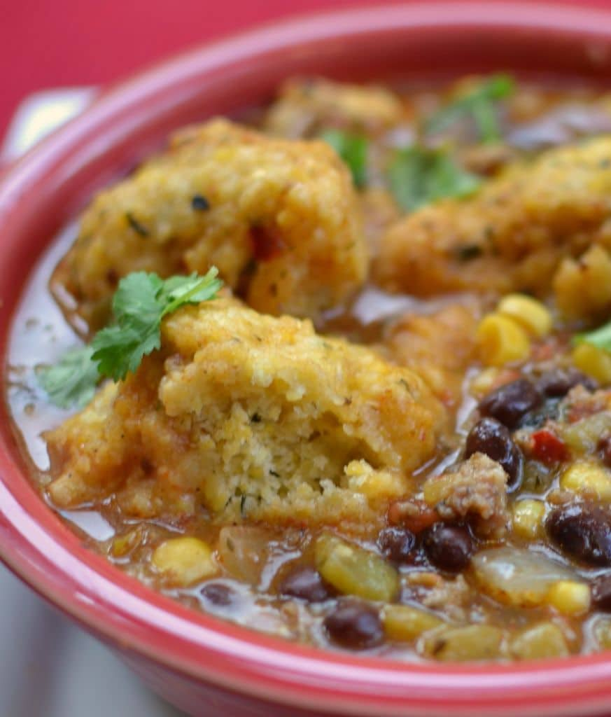 Savory homemade cornbread dumplings pair perfectly with this veggie-packed Southwestern Chowder