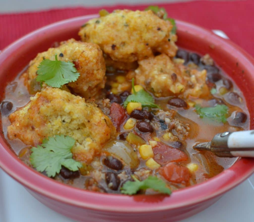 This zesty Southwest Chowder is packed with veggies and served with savory cornbread dumplings