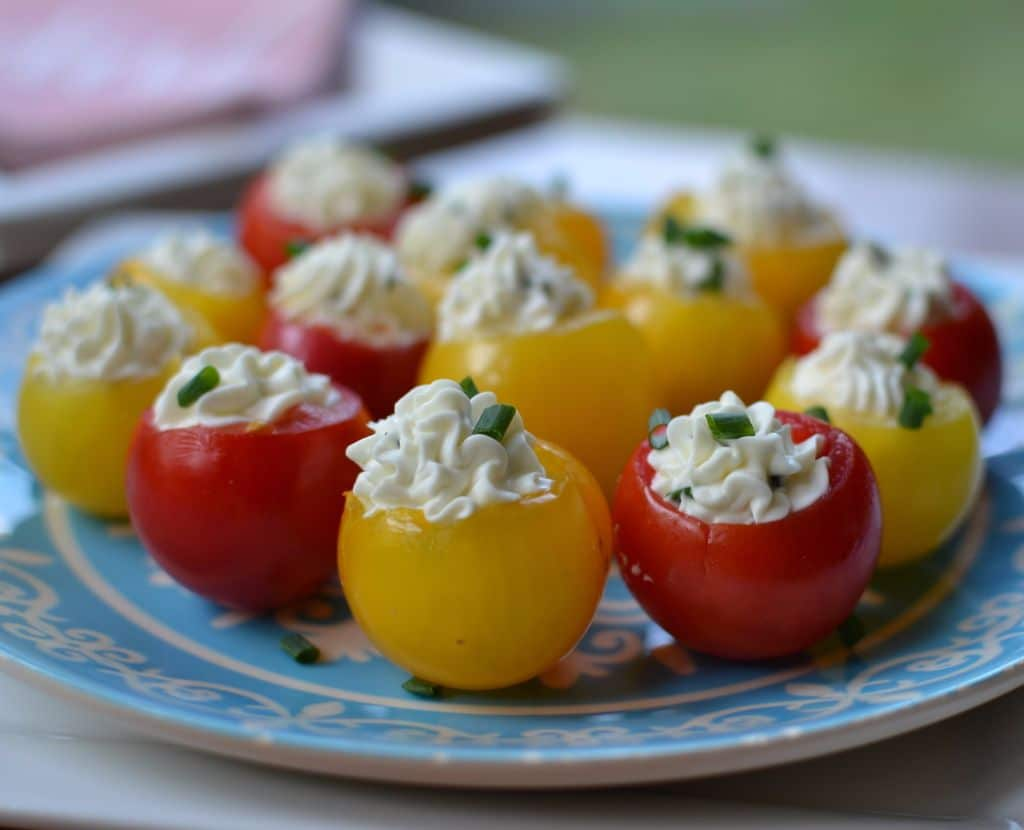 These herb cream cheese stuffed cherry tomatoes are a perfect poppable party appetizer