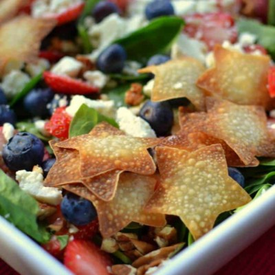 Red White & Blue Patriotic Salad with Poppy Seed Dressing