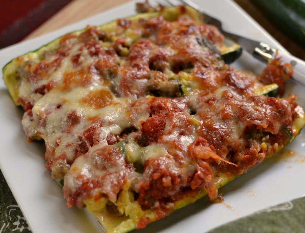 Triple Cheese & Sausage Zucchini Boats (6)