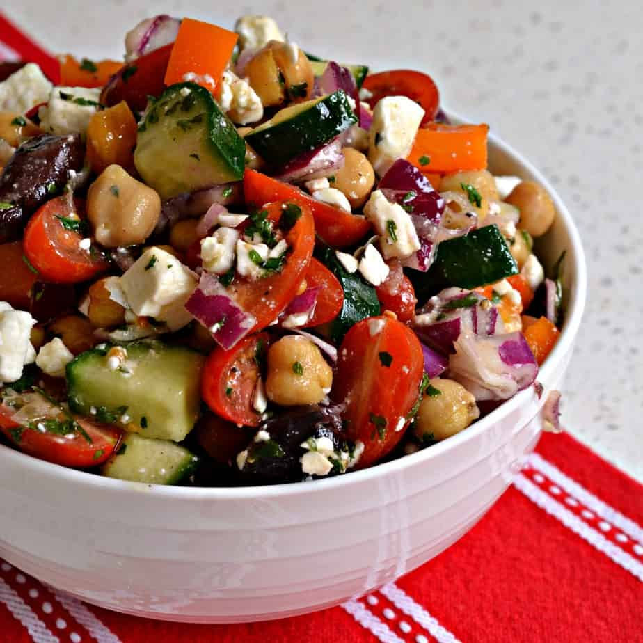 Delectable and easy Chickpea salad goes great with grilled chicken and fish.