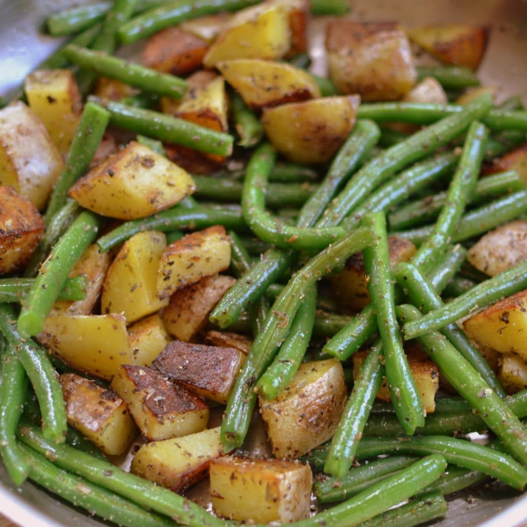 Pan Fried Potatoes and Gren Beans