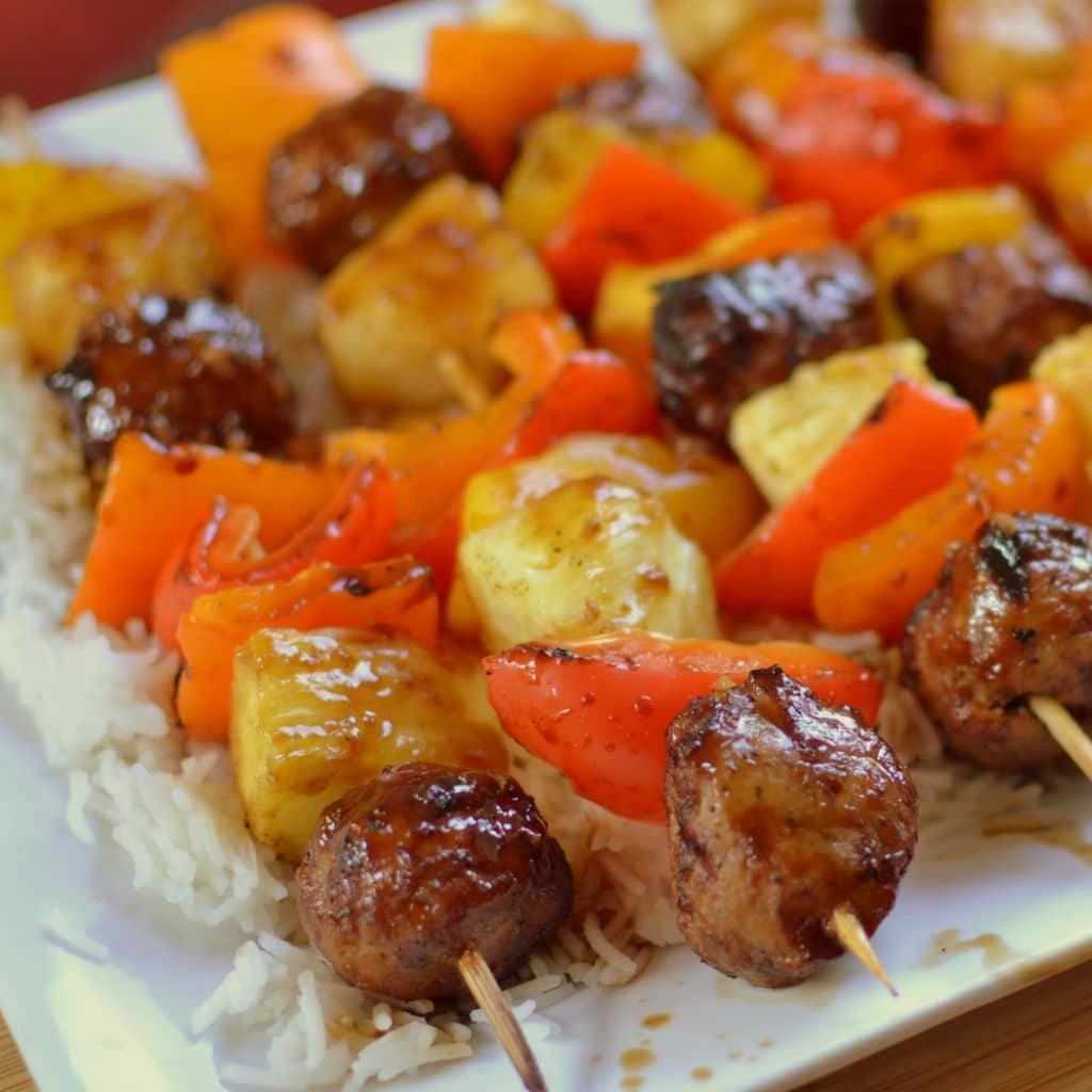 Teriyaki Chicken Meatball Skewers (2)