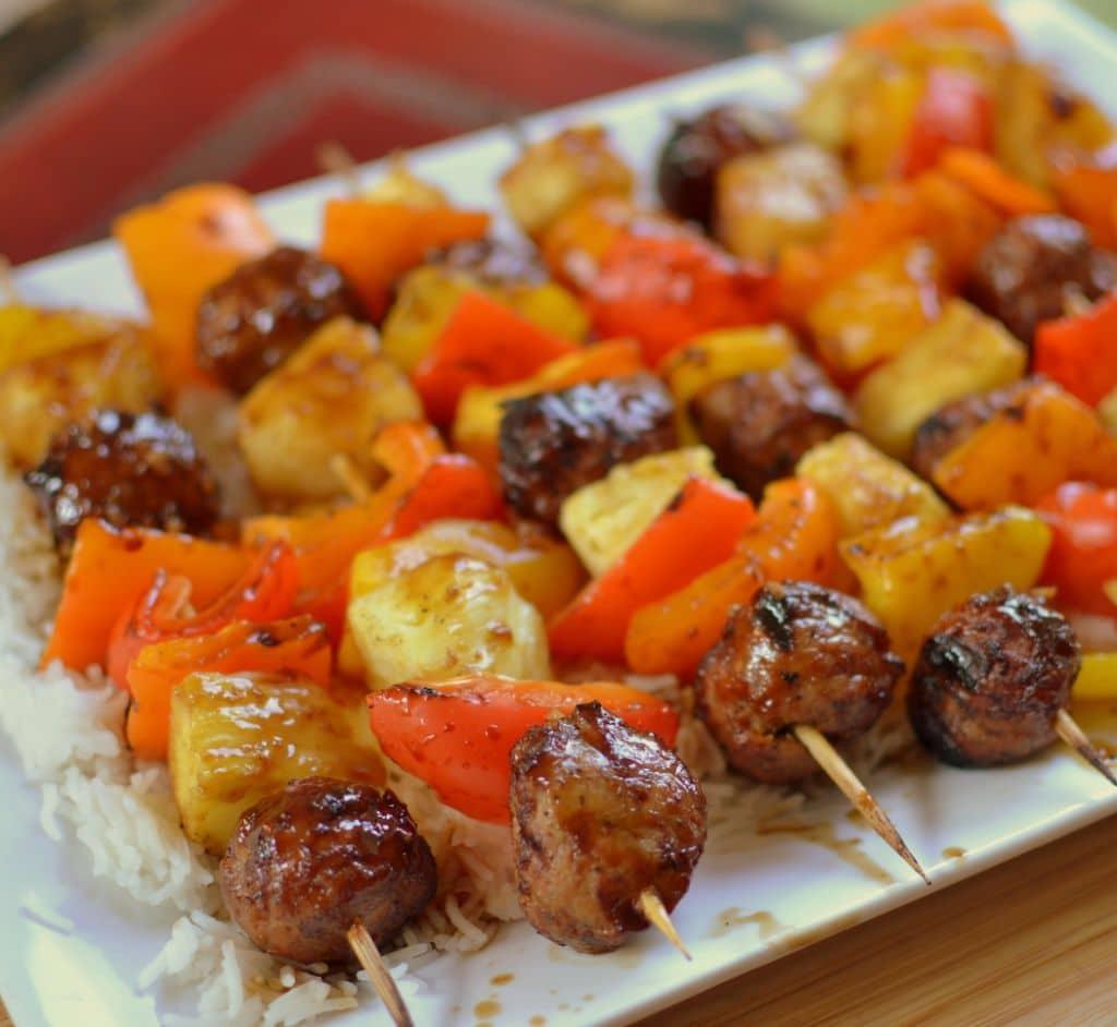 Teriyaki Chicken Meatball Skewers
