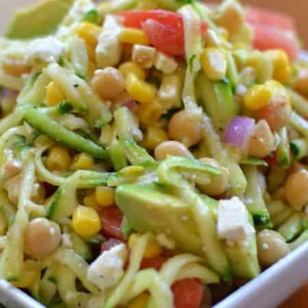 Zucchini Chickpea Avocado Salad