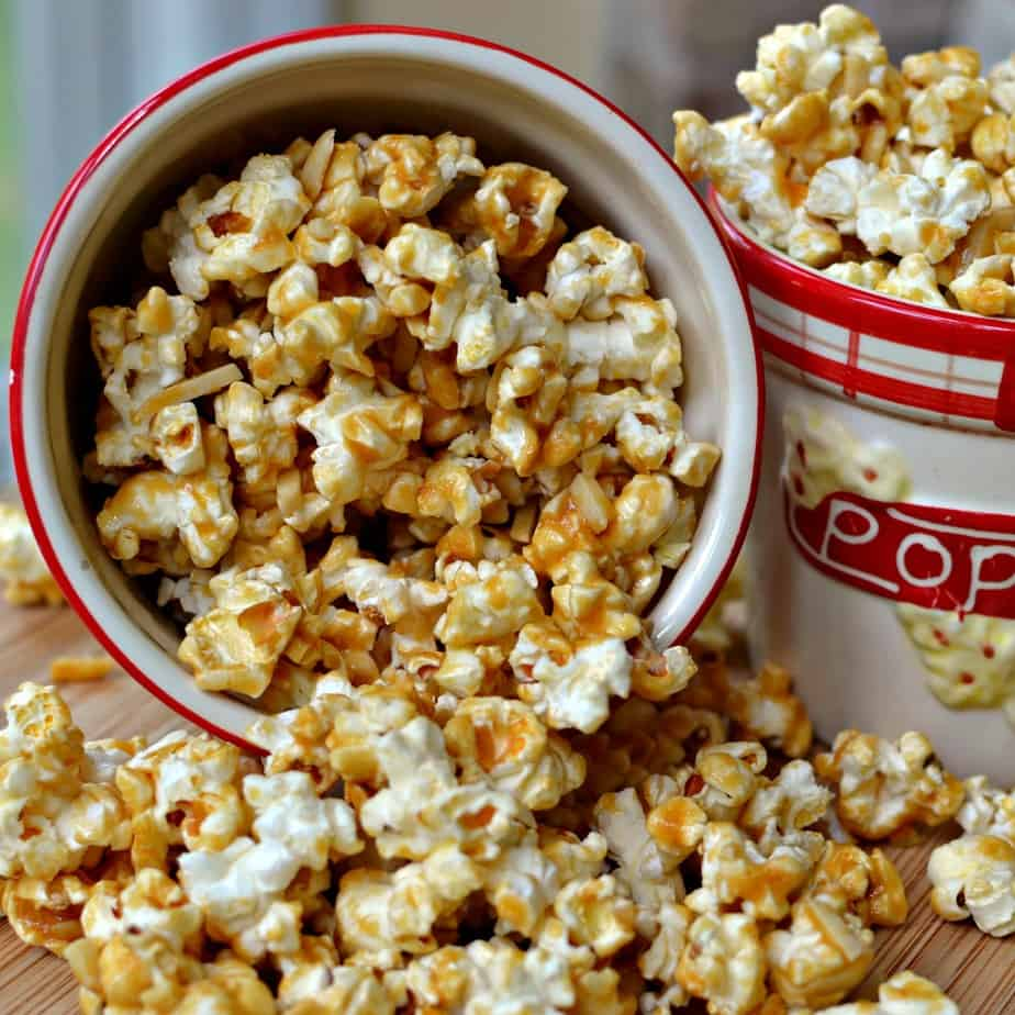 This easy family friendly Caramel Popcorn combines fresh popcorn with homemade caramel and almond slivers.