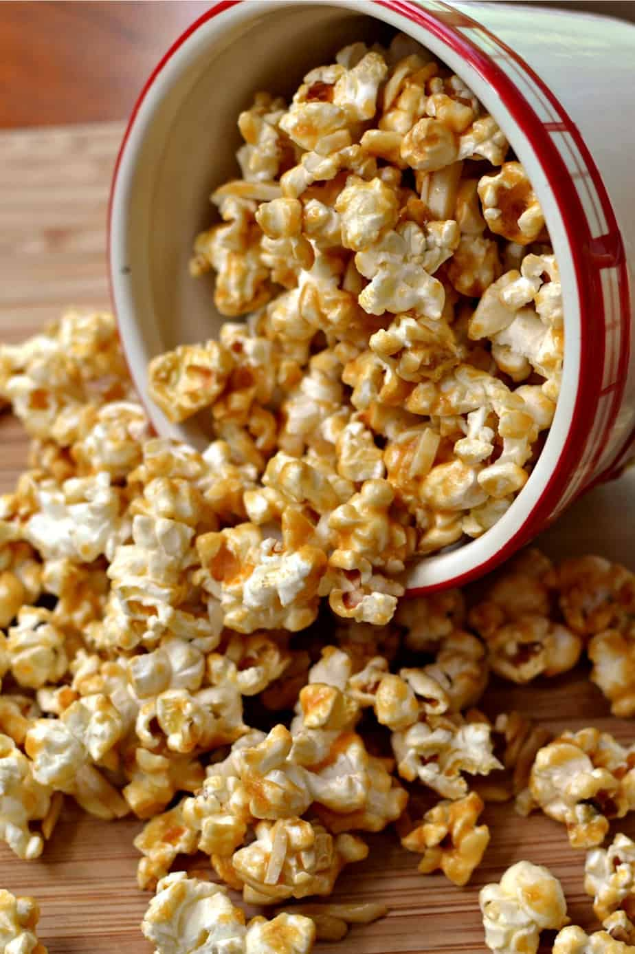 This easy Caramel Popcorn combines freshly microwaved popcorn with homemade caramel and almond slivers.