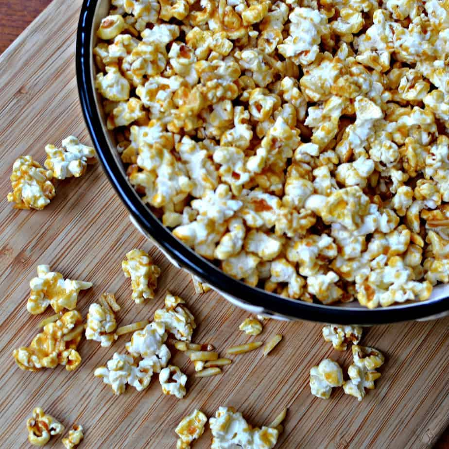 This Caramel Popcorn is perfect for movie night or game night.