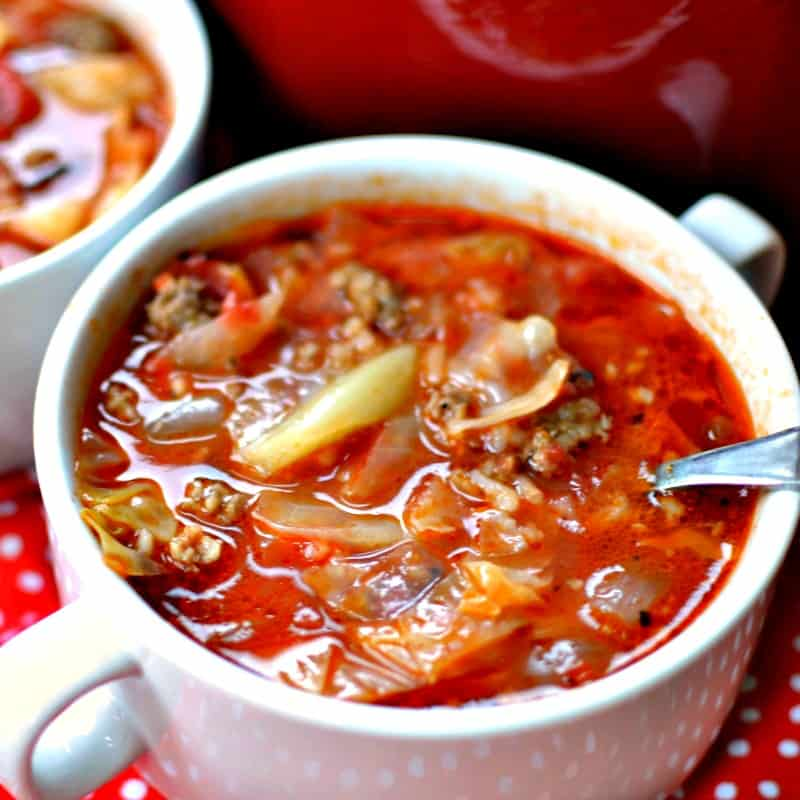 This simple yet delectable soup combines all the delicious flavors of old fashioned cabbage rolls in a fraction of the time.