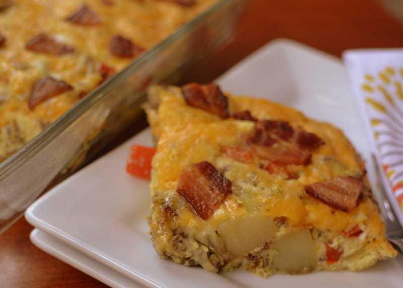 Cheesy Potato Bacon Sausage Egg Casserole (5)