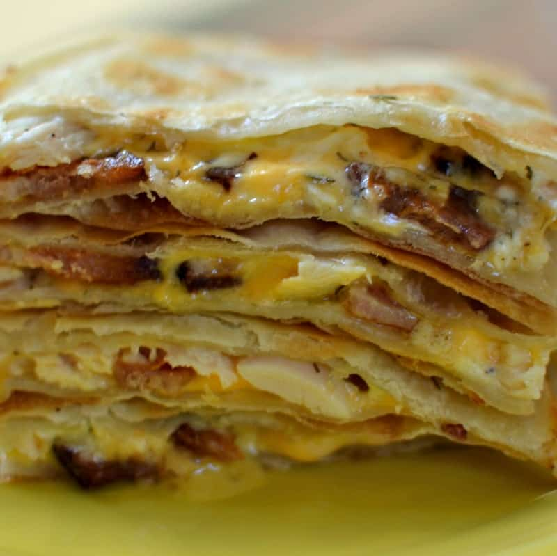 The flavors of chicken, bacon, ranch and cheese meld together in this Chicken Quesadilla like a fine tuned instrument.