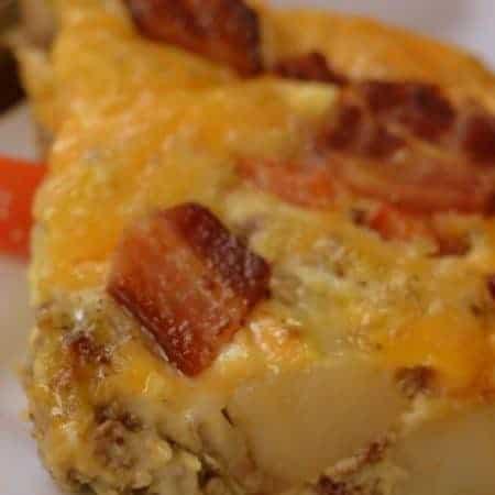 Cheesy Potato Bacon Sausage Egg Casserole
