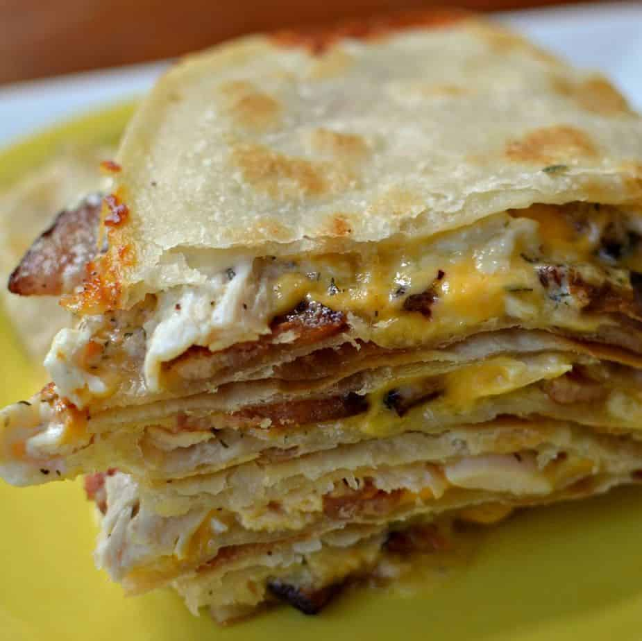 Chicken Quesadilla with Bacon is an easy meal that comes together quickly using rotisserie chicken and ranch dressing.