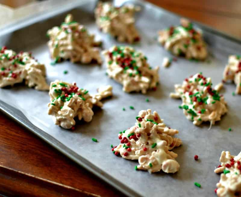 Delicious White Chocolate Holiday Haystack Cookies