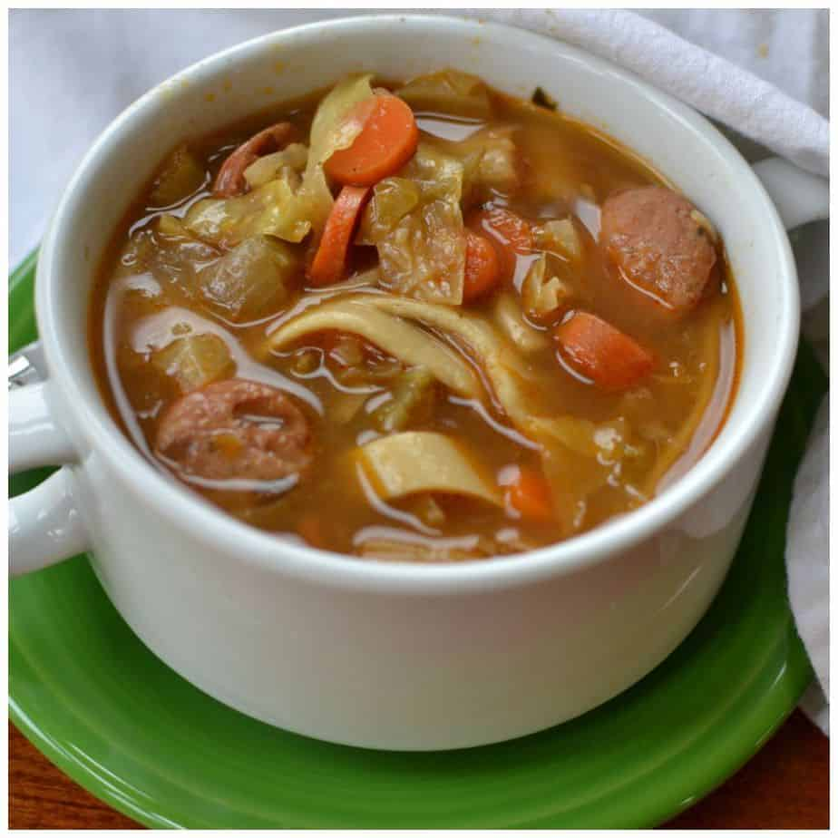 This hearty chicken sausage and cabbage soup is perfect for a cold night