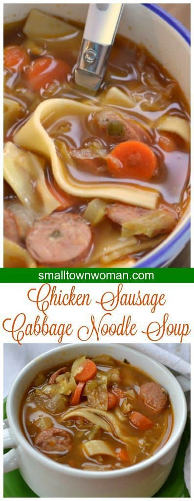 Savory chicken sausage, cabbage, and vegetable soup