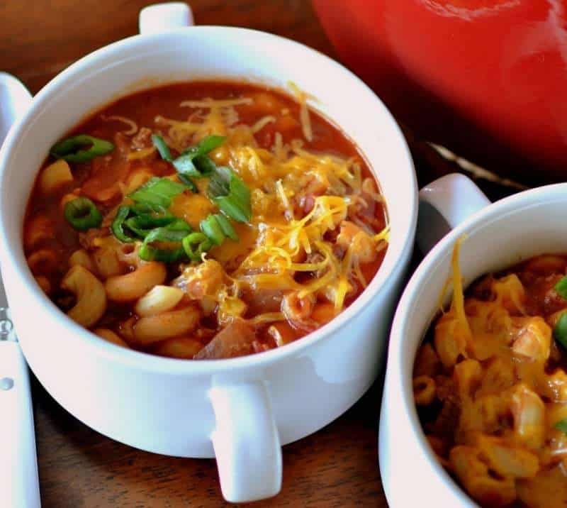 This one pot beef and macaroni chili recipe is perfect for a cold winter day